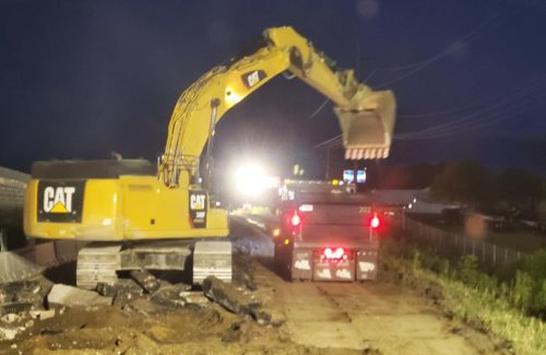 excavator moving dirt