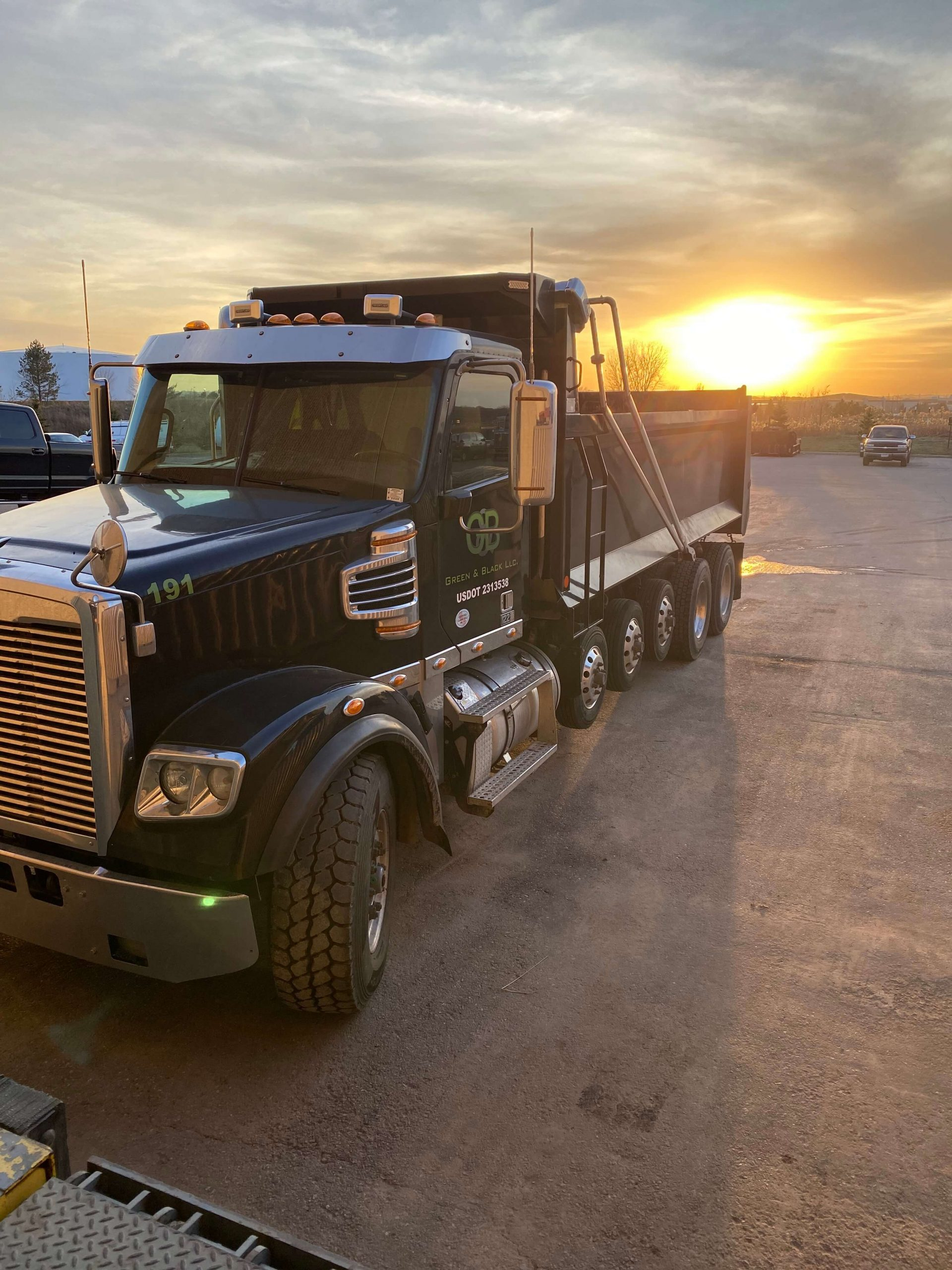 Trucks and sunset